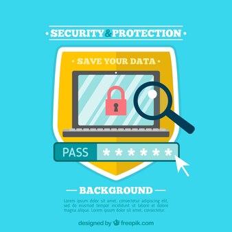 Fondo plano de protección y seguridad