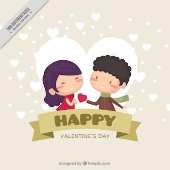 Fondo plano de san valentín con pareja sonriente