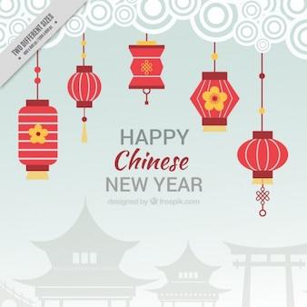 Fondo plano para el año nuevo chino con faroles rojos