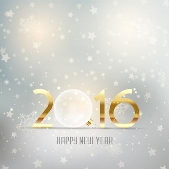 Fondo plateado de año nuevo con bola de cristal