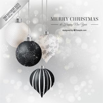Fondo plateado de bolas de navidad