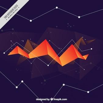 Fondo poligonal con figura naranja