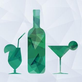Fondo poligonal de bebidas