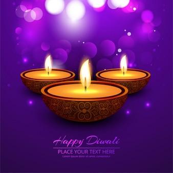 Fondo púrpura brillante bokeh de feliz diwali