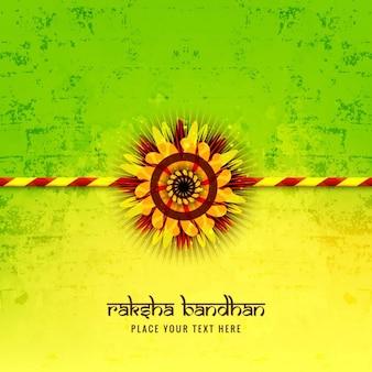Fondo raksha bandhan en colores verde y amarillo
