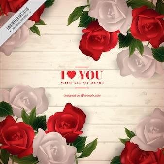 Fondo realista con rosas rojas y blancas