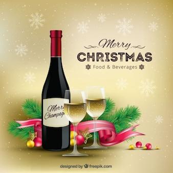 Fondo realista de champán de navidad
