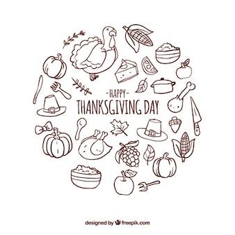 Fondo redondo con artículos acción de gracias