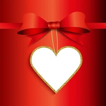 Fondo regalo del Día de San Valentín con la etiqueta de brillo en forma de corazón