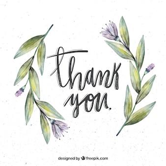 Fondo retro con flores de acuarela y mensaje de agradecimiento