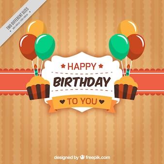 Fondo retro con insignia de feliz cumpleaños y globos