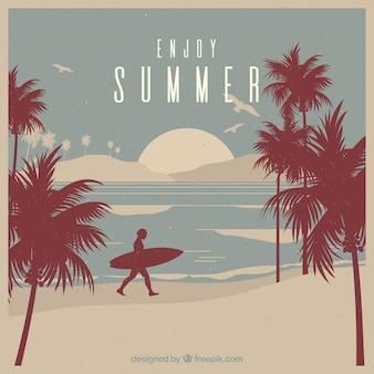 Fondo retro con surfista y palmeras