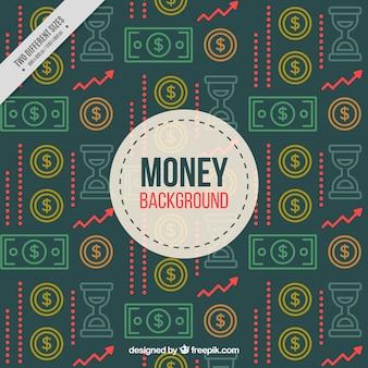 Fondo retro de billetes y monedas
