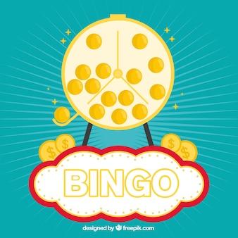 Fondo retro de bolas doradas de bingo