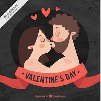 Fondo retro de pareja besándose