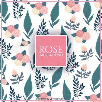 Fondo retro de rosas y hojas