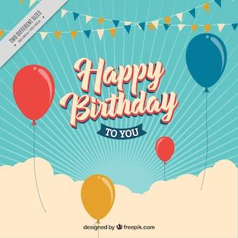Fondo retro sunburst de globos de cumpleaños