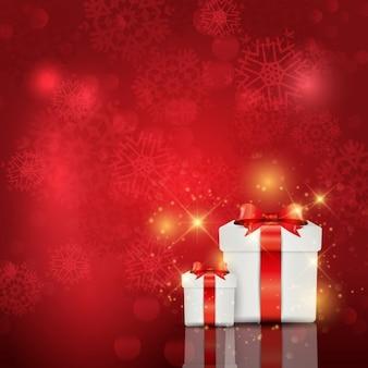 Fondo rojo con cajas de regalo