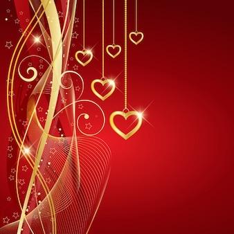 Fondo rojo con corazones dorados para san valentín