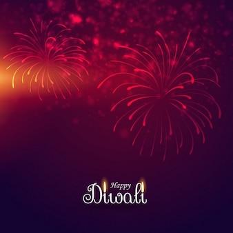 Fondo rojo con fuegos artificiales para diwali