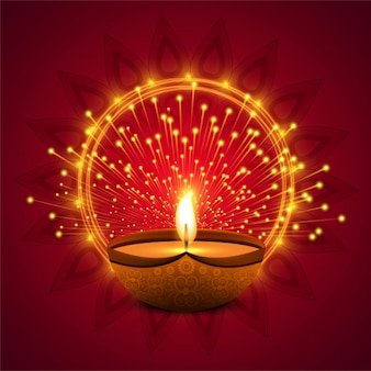 Fondo rojo con luces para diwali