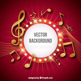 Fondo rojo con notas musicales doradas