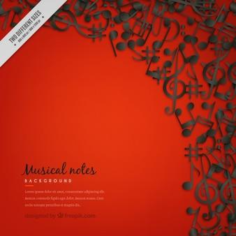 Fondo rojo con notas musicales