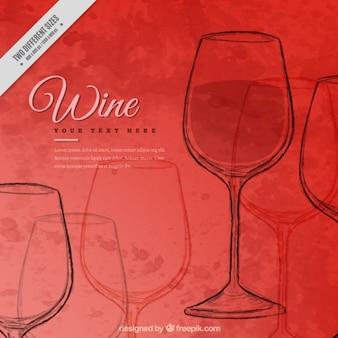 Fondo rojo de acuarela con bocetos de copa de vino