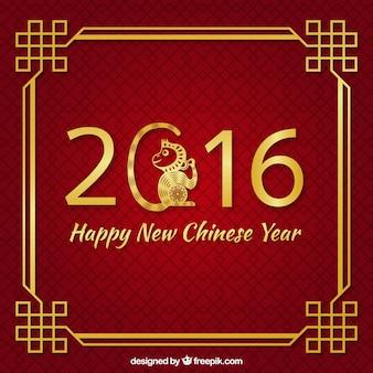 Fondo rojo de año nuevo chino con decoración dorada