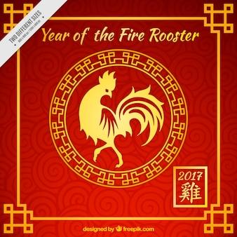 Fondo rojo de año nuevo del gallo con detalles dorados