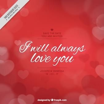 Fondo rojo de corazones con romántico mensaje