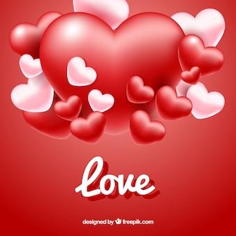 Fondo rojo de corazones