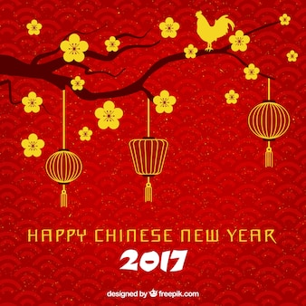 Fondo rojo de feliz año nuevo chino con rama y flores doradas