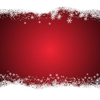 Fondo rojo de navidad nevado