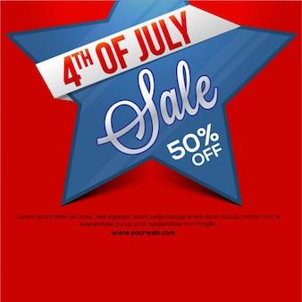 Fondo rojo de rebajas con estrella azul para el día de la independencia
