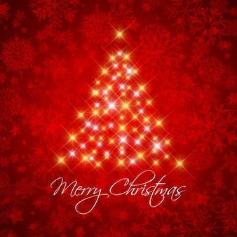 Fondo rojo decorativo de navidad con árbol estrellado