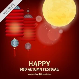 Fondo rojo del festival del medio otoño con decoración de farolillos