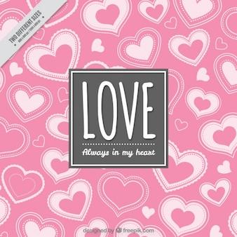 Fondo romántico con corazones rosas decorativos
