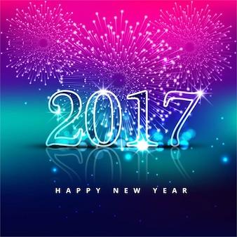 Fondo rosa, azul y púrpura con números de cristal para año nuevo