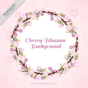 Fondo rosa con corona floral