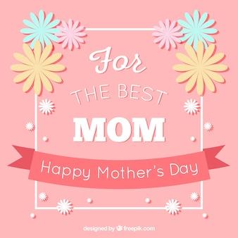 Fondo rosa con flores decorativas para el día de la madre