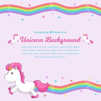 Fondo rosa de arcoiris con unicornio