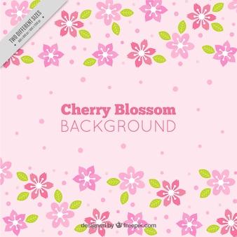 Fondo rosa de flores de cerezo decorativas