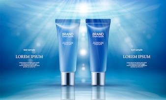 Fondo rosado con productos cosméticos hidratantes de día y noche