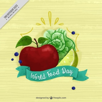 Fondo saludable con lechuga y manzana en acuarela