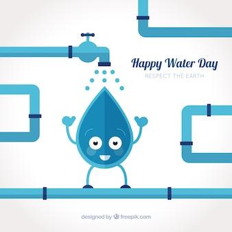 Fondo simpático de gota de agua y tuberías