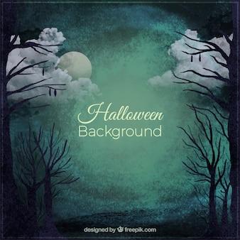 Fondo siniestro de halloween de un bosque por la noche