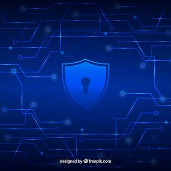 Fondo tecnológico azul con escudo