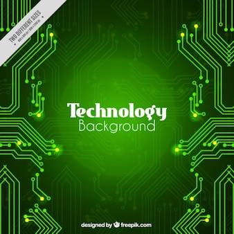 Fondo tecnológico verde con circuitos