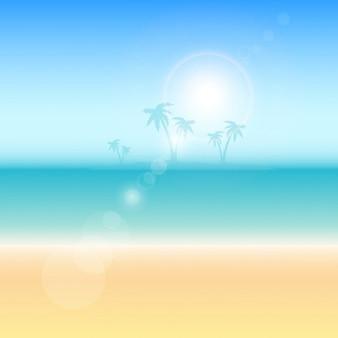 Fondo temático de verano con palmeras